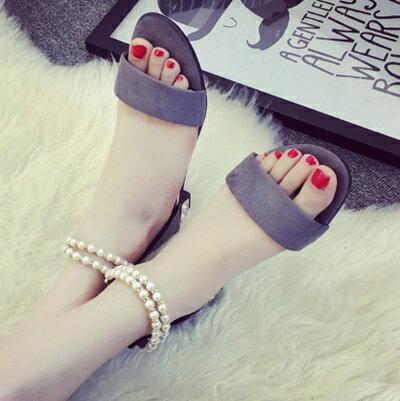 平底鞋珍珠羅馬涼鞋~優雅氣質一字帶 女鞋子2色73ey17~ ~~米蘭 ~