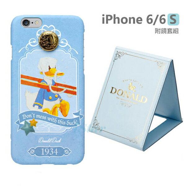 【日本 PGA-iJacket】正版 迪士尼 iPhone 6/6s 4.7吋 復古時代立體徽章附鏡套組系列-唐老鴨