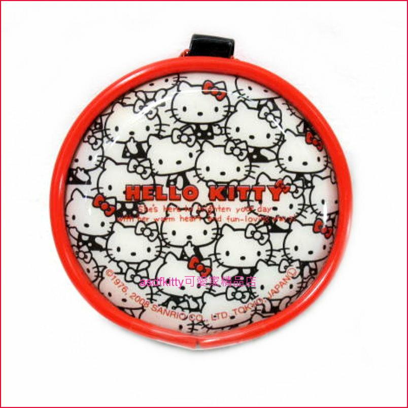 asdfkitty可愛家☆KITTY多人版圓型零錢包/收納包-日本正版商品