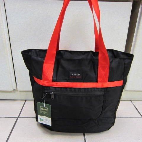 ~雪黛屋~YESON 折疊收納購物肩背袋 可外掛於行李箱拉桿上並用 備用袋 超輕防水布材質F667黑
