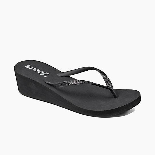 REEF 完美比例高跟設計閃亮織帶 女款夾腳拖 人字拖鞋鞋 . 黑 RF001589BK2 - 限時優惠好康折扣