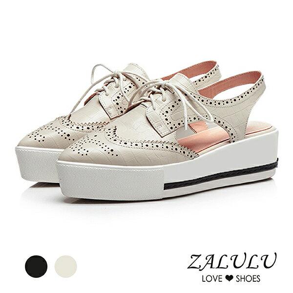 ZALULU愛鞋館7CB115英倫風雕花尖頭鬆糕鞋-米白黑-35-40
