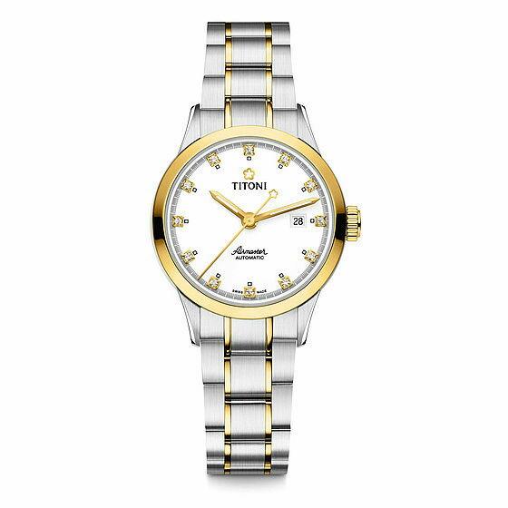 TITONI瑞士梅花錶空中霸王系列23733SY-556單鑽機械腕錶/金銀29mm