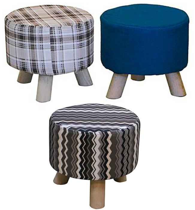 ~尚品傢俱~~自運價~ Q~252~10 小精靈 布面圓形小腳椅^( 布花^)小椅子 矮凳