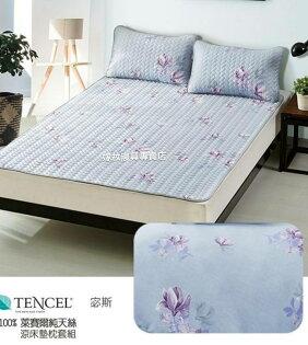 100%天絲TENCEL涼感軟蓆墊枕套組買1送2一墊多用加大雙人6x6.2