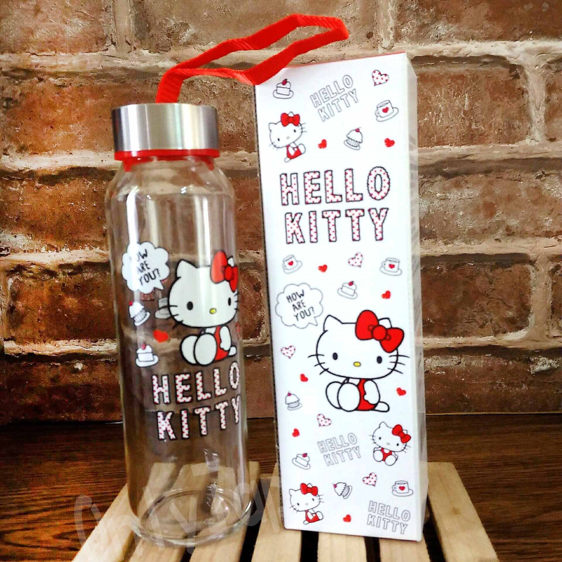 【真愛日本】18041100008 耐熱玻璃水瓶附提繩-KT午茶紅 三麗鷗kitty凱蒂貓 透明 玻璃 水瓶 水壺