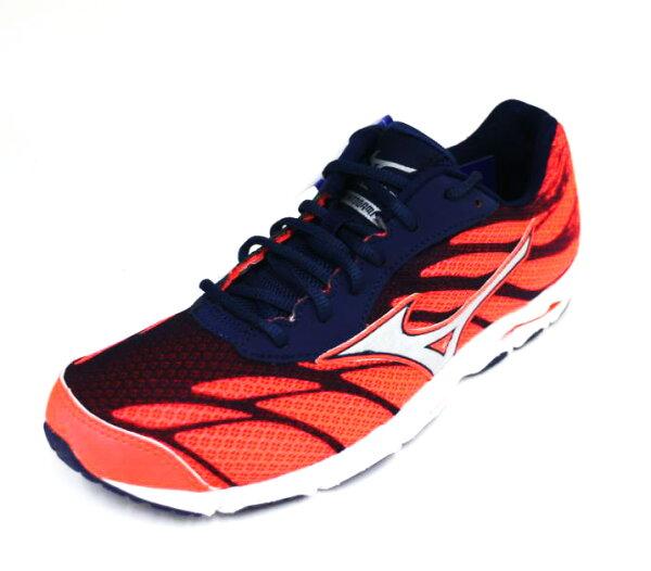 陽光運動館:MIZUNO美津濃(女)WAVEHITOGAMI3輕量耐磨高緩衝馬拉松慢跑鞋J1GB168004(橘紅深藍)[陽光樂活]