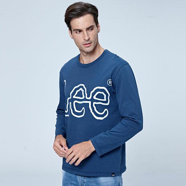 Lee LOGO 圓領長袖T恤 藍
