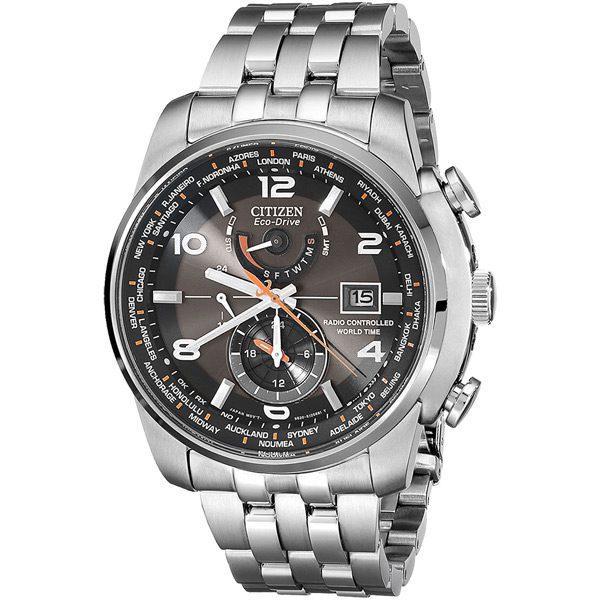 清水鐘錶 Citizen 星辰 Eco-Drive光動能 霸氣四方 全球電波三眼腕錶 黑面 AT9010-52E 46mm