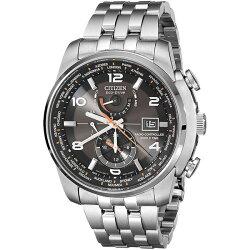 Citizen 星辰 Eco-Drive光動能 霸氣四方 全球電波三眼腕錶 黑面 AT9010-52E 46mm