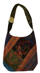 尼泊爾製 舞花之蝶圖案 手提/肩背 兩用包【尼泊爾 手藝坊】 Nepalese made multi color, butterfly designed hand cum shoulder bag