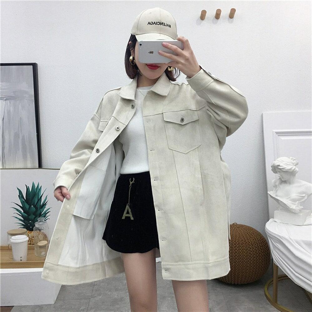 麂皮外套 B-G113麂皮絨外套 秋季女裝新款韓版百搭翻領長袖純色上衣女 曼慕衣櫃