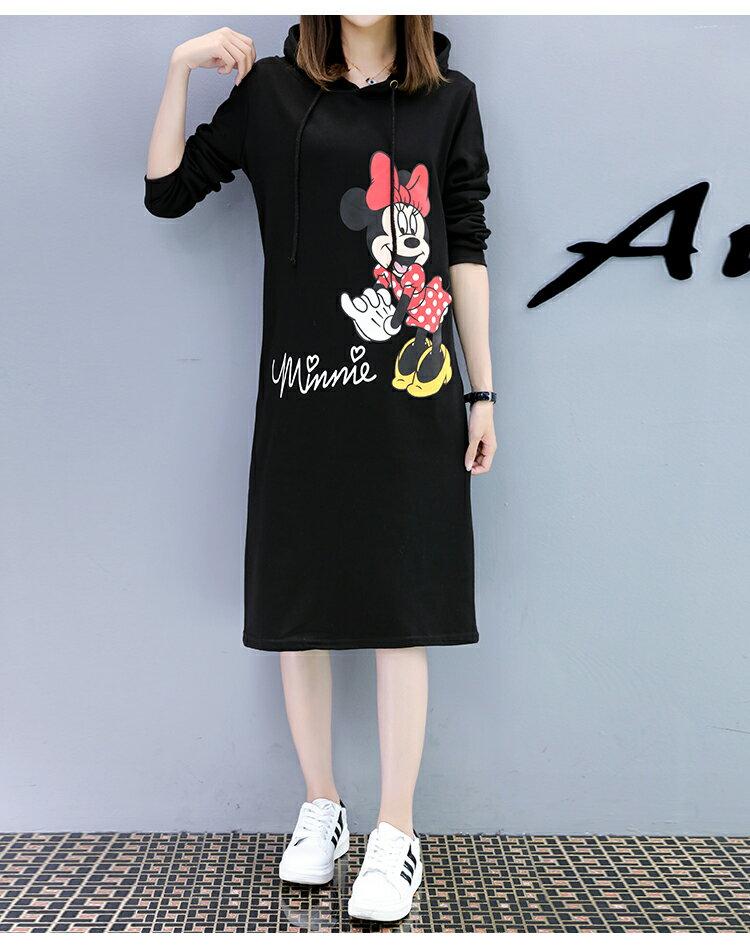 M~4XL 米妮連帽中長款帽T過膝連衣裙 迪士尼系列 【TT7111M6AS】 Lanny Dress 4