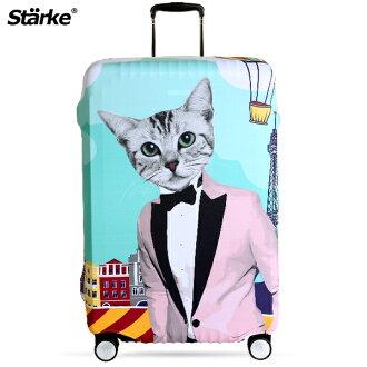E&J【010001-10】Starke 高彈性行李箱套 - 紳士貓咪;適用26-29吋/防塵套/防刮/行李箱保護套