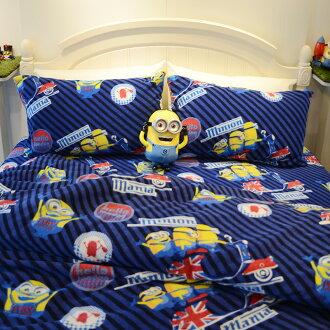 床包兩用毯組 / 單人-暖呼呼搖粒絨【小小兵-前進英倫】含一件枕套,發熱保暖,戀家小舖,台灣製
