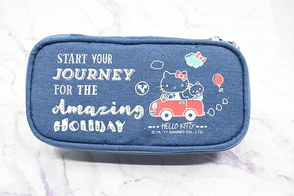 X射線【C703002】Hello Kitty 牛仔筆袋,鉛筆盒  筆盒  筆袋  筆筒  文具  收納