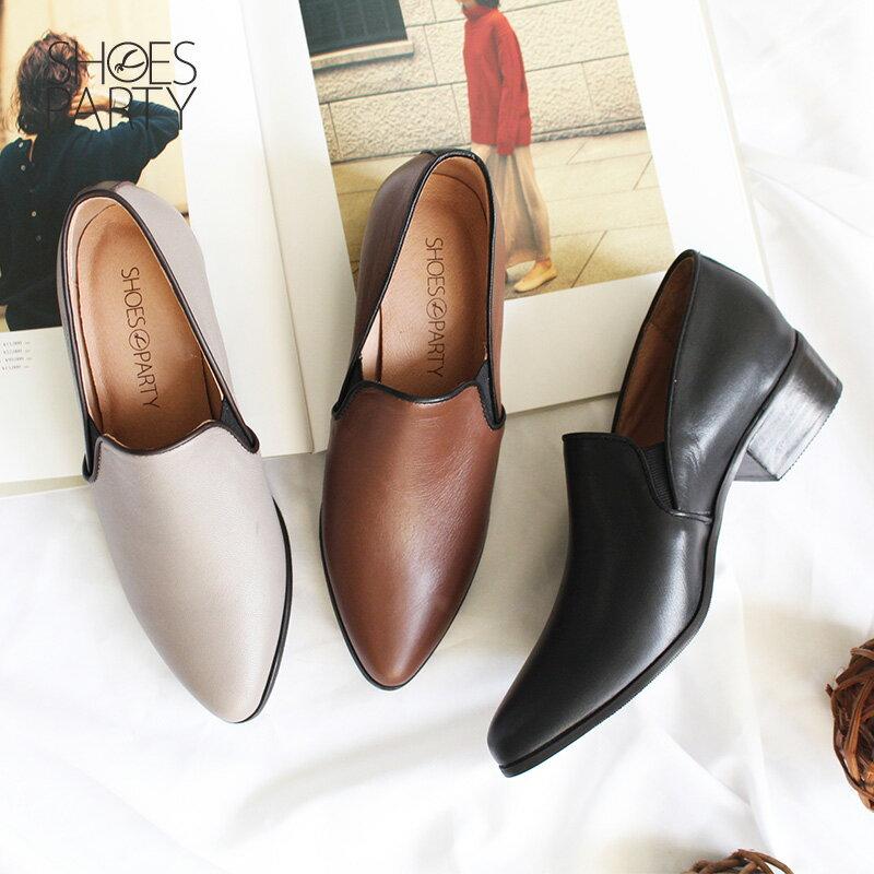 限量訂製【P2-18803L】滾邊素面真皮踝靴_Shoes Party 0