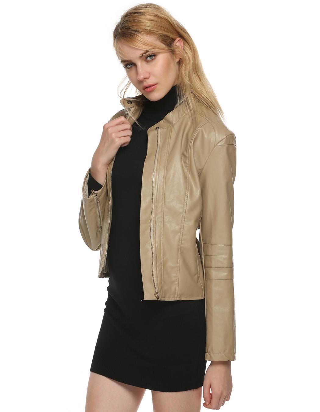 Women Long Sleeve Synthetic Leather Casual Bike Jacket Short Coat 3
