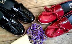 漆皮流蘇樂福鞋 鏡面真皮 超大流蘇懶人鞋 台灣製真皮手工鞋 低跟鞋 鏡面紅色LaoMeDea