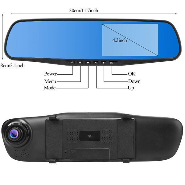 HD 1080 P 4.3\'\' Car Rearview Mirror Vehicle DVR Video Night Vision Car Dual Lens Camera Dash Cam Recorder 3