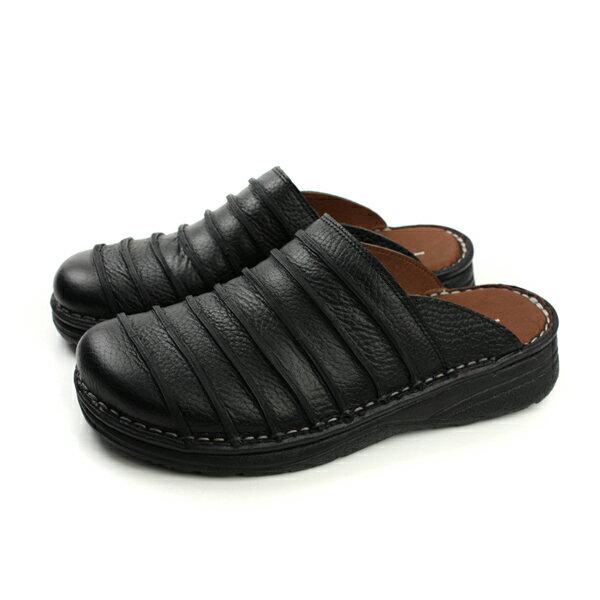 HUMAN PEACE:HUMANPEACE涼鞋拖鞋皮質舒適黑色男鞋H056no001