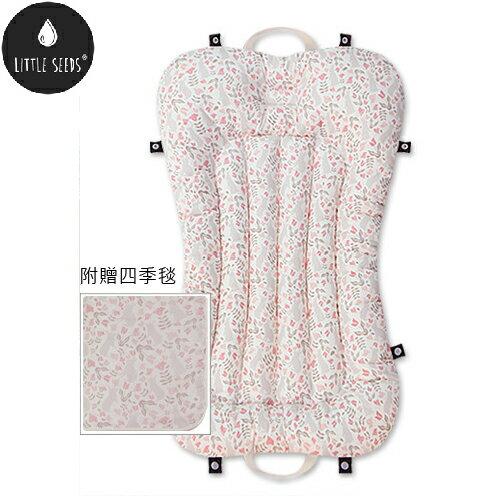 【贈四季毯+收納袋】韓國【Little Seeds】嬰兒口袋床墊組-兔型花