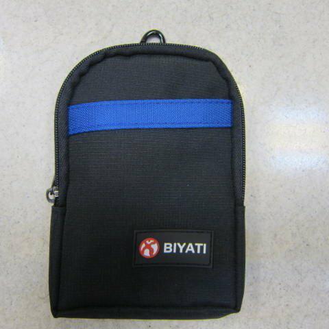 ~雪黛屋~BIYATI 腰掛包 腰包 隨身物品專用包5.5寸手機專用包防水尼龍布材質二層拉鍊主袋口 #1272黑-藍