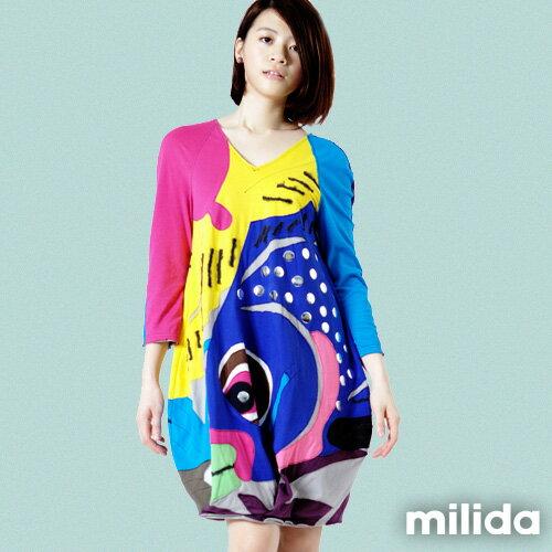 【Milida,全店七折免運】-秋冬單品-洋裝款-鯉魚塗鴉拼貼
