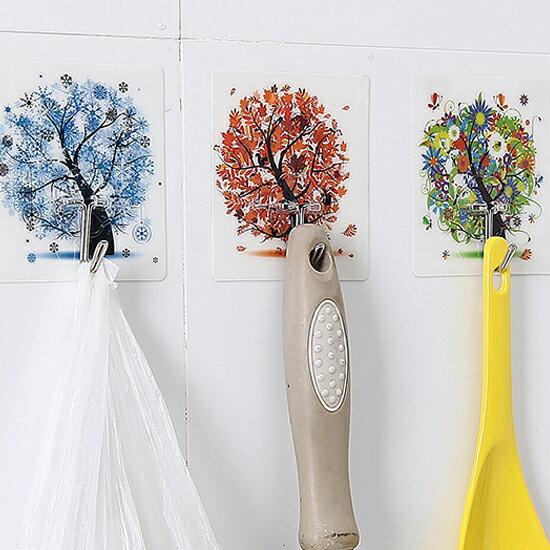♚MY COLOR♚無痕強力掛鉤(四入) 廚房 衛浴 懸掛 黏貼 壁掛 裝飾 收納 門背 櫥櫃 免釘【H51】