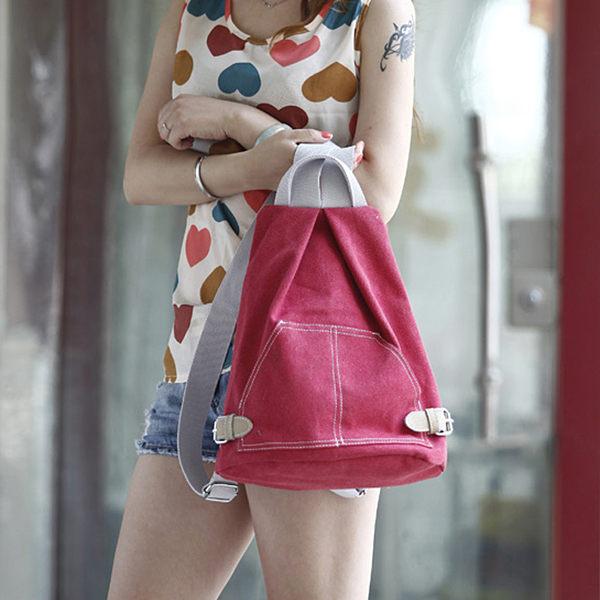 新款英倫風 簡約時尚 帆布手提包 後背包 G0063 ◆ 雅韓時尚館