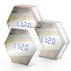 ~迪特軍3C~USB充電式 六角形可調光鏡子鬧鐘 LI~05A 夜燈 鏡子 鬧鐘 溫度計