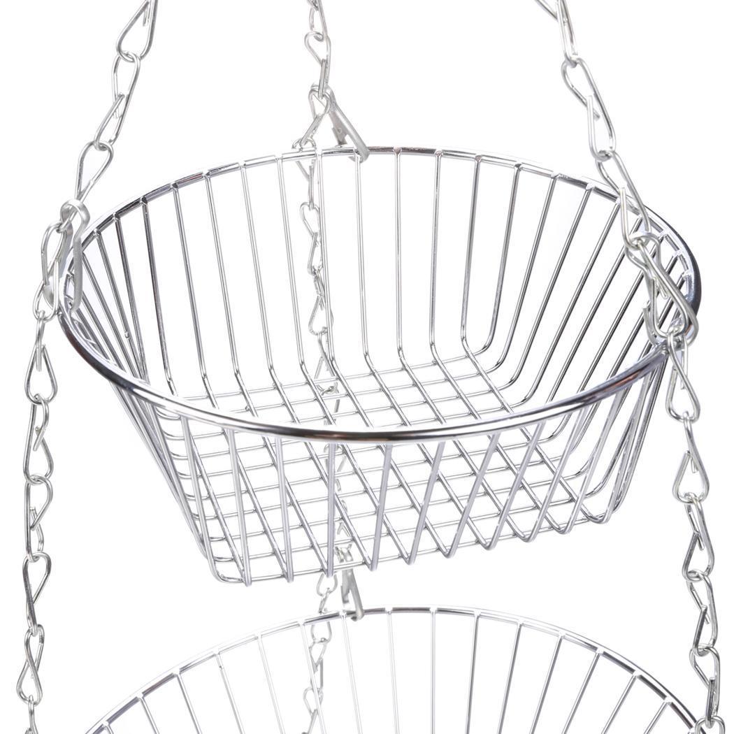 3-Tier Wire Hanging Chrome Fruit Flower Storage Basket 5