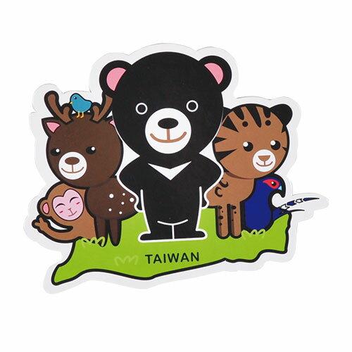 【MILU DESIGN】+PostCard>>台灣旅行明信片-台灣原生動物/明信片(黑熊/雲豹/梅花鹿/藍鵲/獼猴/TAIWAN)