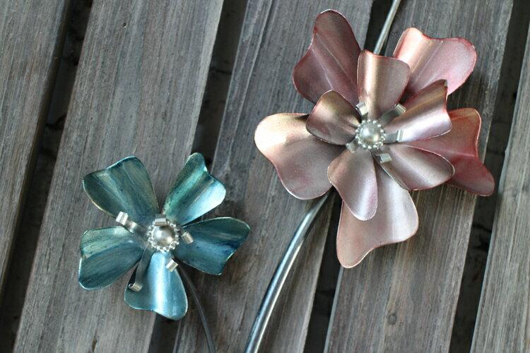 美式鄉村花朵4孔壁飾燭臺 家居裝飾品 酒吧咖啡廳壁飾 做舊鐵藝1入
