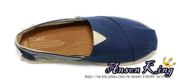 [女款] 國外代購TOMS 帆布鞋/懶人鞋/休閒鞋/至尊鞋 亞麻系列  條紋藍色 2