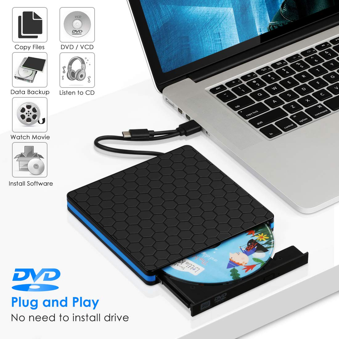 Kingbox External Hard Drive External DVD Drive Hard Disk USB 3 0 Type-C  CD/DVD Writer Drive for Laptop Desktop PC Computer Windows Linux OS Apple  Mac