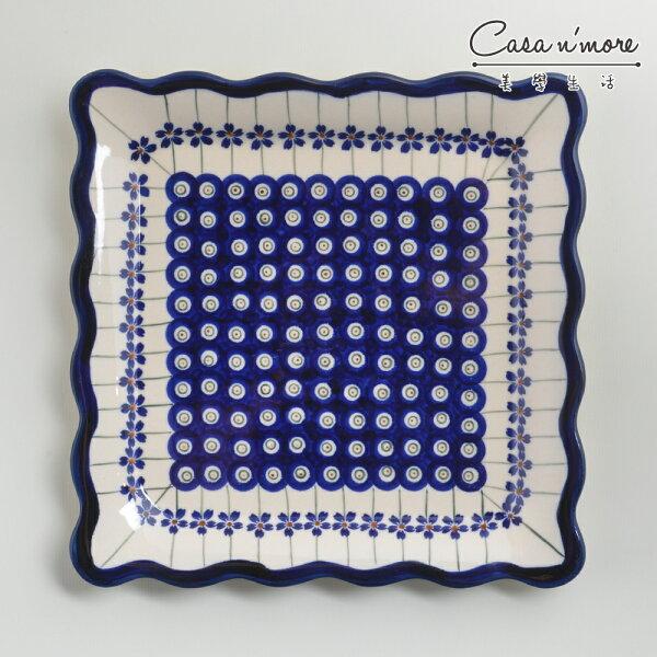 波蘭陶藏青小卉系列方形餐盤陶瓷盤菜盤水果盤沙拉盤24cm波蘭手工製