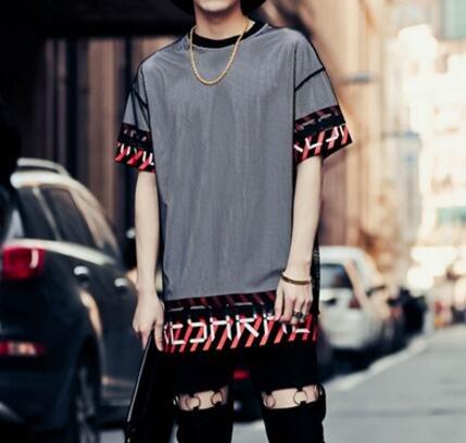 FINDSENSE品牌 男  街頭 潮 拼色 斜條紋英文印花 網紗 寬鬆 短袖T恤 特色T