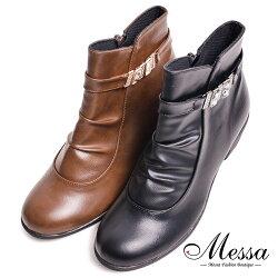 【Messa米莎專櫃女鞋】MIT優雅女人閃亮水鑽造型皺褶感拉鍊短靴-二色