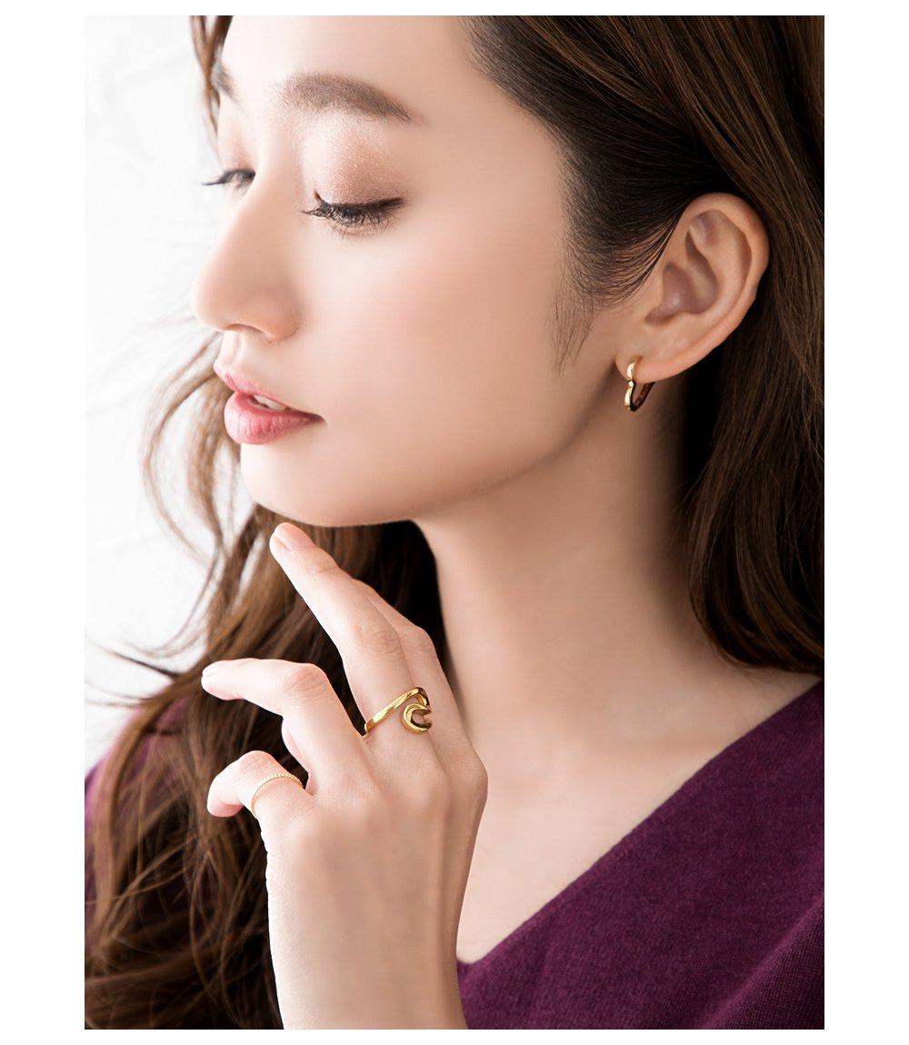 日本CREAM DOT  /  リング 指輪 ステンレス製 低アレルギー レディース 大きいサイズ 9号 12号 15号 17号 カーブリング ファッションリング 大人カジュアル シンプル ゴールド シルバー ピンクゴールド  /  a03643  /  日本必買 日本樂天直送(1790) 4