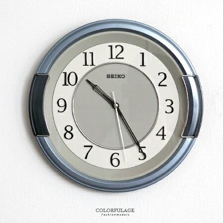 SEIKO精工掛鐘 獨特銀藍粗框設計 簡約數字雙圈時鐘 提升居家生活 柒彩年代【NE1616】原廠公司貨 0