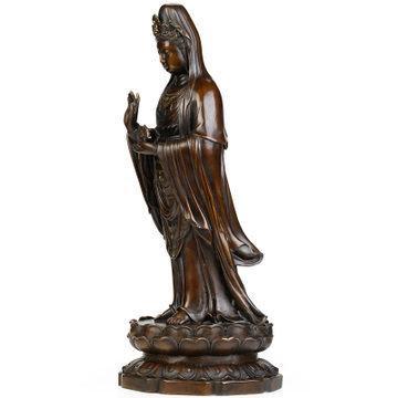 吉善緣 純銅法輪觀音擺件 紫銅佛像家居工藝品保平安裝飾擺設0934