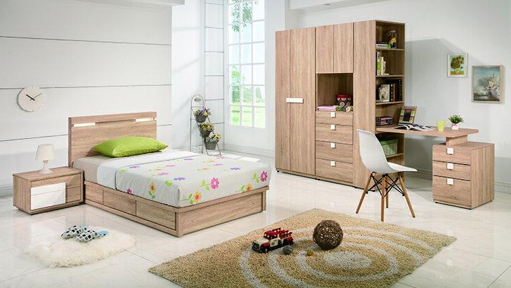 【欣生活】多莉絲 (夜燈) 3.5尺 單人床組 床片 床底 床頭櫃 衣櫥 組合書桌《台灣製》