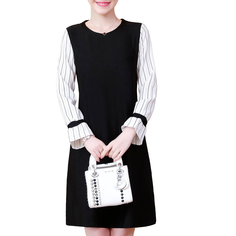 連身洋裝--氣質優雅條紋拼接喇叭袖A字修身百搭圓領長袖連衣裙(黑M-3L)-A336眼圈熊中大尺碼 0