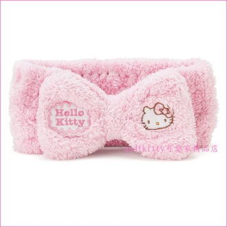 asdfkitty可愛家☆KITTY粉色鬆緊髮帶-寬面髮帶,洗臉.化妝.敷面膜.都好用-吸水材質-日本正版商品
