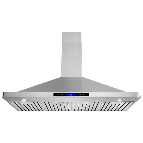 "AKDY 48"" Stainless Steel Wall Mount Range Hood Touch Screen Display Light Lamp Baffle Filter 0"