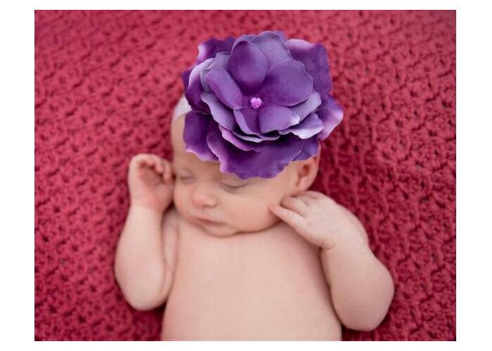 【HELLA 媽咪寶貝】美國Jamie Rae 100%純棉髮帶 薰衣草紫細髮帶+薰衣草紫玫瑰 (JRFBR02)