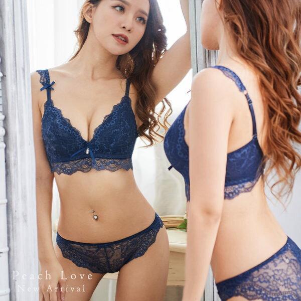 內衣 典雅巴黎成套內衣組(三色:藍、酒紅、黑)-胸罩、無鋼圈_蜜桃洋房 2