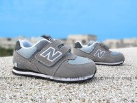 New Balance 美國慢跑鞋/跑步鞋推薦Shoestw【KV574CII】NEW BALANCE 574 小童鞋 運動鞋 灰色 麂皮 黑底