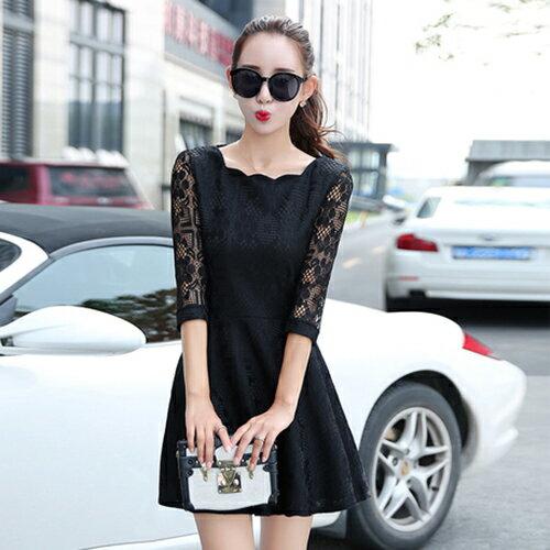 花邊領純色七分袖蕾絲連身裙 (2色,S~XL) 【OREAD】 - 限時優惠好康折扣